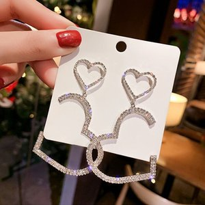 Hot Sale Womens Earrings Statement Gold Dangling Cute Gift Female Korean Fashion Jewelry Heart Crystal Earrings