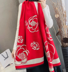 Cashmere Tassel Women celebrity Classic female fashion brand wool design Thicken warm Soft Autumn winter ladies camellia scarf shawl