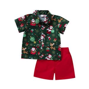 Sets de Navidad Boys Trajes Casual Dibujos Animados Niños Ropa de bebé Camisa de manga corta + Pantalones cortos 2pcs / Set Ropa Set B2898