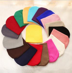 1-5 سنوات أطفال الرضع عادي متماسكة قبعة قبعة تزلج الجمجمة قبعات slouchy سميكة محبوك الشتاء القبعات الأطفال الصلبة فارغة اللون بيني E112602