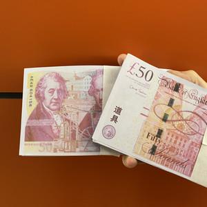 50 libras de alta qualidade mais realista Prop Finja copiar Reino Unido do dinheiro de papel filme notas 100pcs prop dinheiro / pack