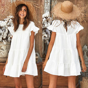 NEW Women Summer Holiday Ruffled Casual Sleeveless Loose Crew Neck Evening Party Beach Short Mini Dress Sundress Frilled Tops