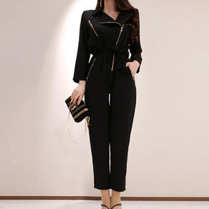 Black Flutter Sleeve Belted Print Zipper bodysuit Jumpsuit Spring Casual Round Neck Highstreet Overalls for Women maxi Jumpsuit