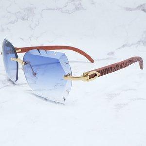 Corte Carter Designer Homem Luxo Rimless Sawtooth Wood Madeira Metal Mulher Tons para óculos Buffs Óculos de Sol Óculos JKEMQ