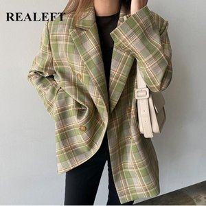 REALEFT New 2020 Vintage Women's Blazers Plaid Double Breasted Blazer Jackets Casual Notched Outerwear Jackets Female