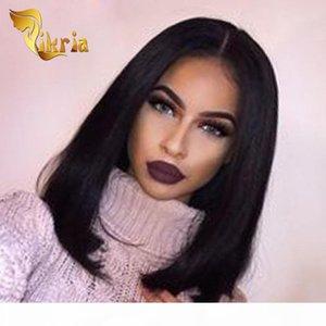Cheap Glueless Bob Wigs Virgin Human Hair Lace Front Wigs For Black Women Straight Peruvian Brazilian Malaysian Full Lace Human Hair Wigs