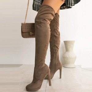 Women Over The Knee Boots Autumn Winter High Heels Platform Ladies Shoes Round Toe Lace Up Stiletto Female Thigh High Long Boots1