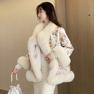 New Chinese Style Fur Cape Satin Mid-Length Fox Fur Beaded Tang Suit Coat Cloak Women Fashion Nine Points Sleeve Special Free Shipping