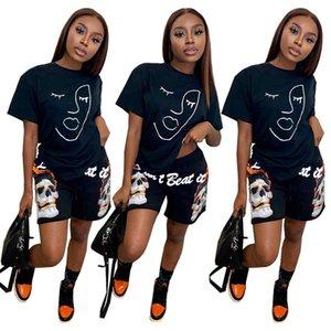 Summer Womens Shortfits Designer T-shirt T-shirt et short de 2 pièces Tracksuit Tracksuit Mode Graffiti Lettre Imprimer Sportswear Swew Sull H12702