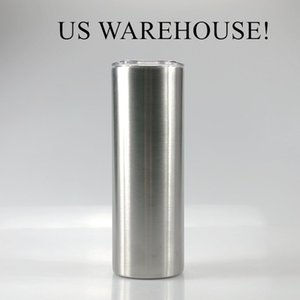 US warehouse 20oz straight skinny tumblers double wall vacuum insulated water bottle stainless steel tumbler straight cups A02