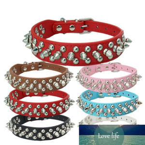 Dog Rivet Collars Cool Nail Studded Necklace Spiked Strap PU Leather Round Bullet Small Pet Dogs Cat Collar XS-L CCYYF99
