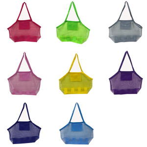 11 Colors Blanks Children Mesh Shell Sand Beach seashell Bag Kids Beach Toys Receive Bag Mesh Sandboxes Away Cross Bag FWC4142