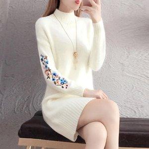 TYJTJY FALDAS MUJER MODA Осень и зимние модные платья скидки платье имитация свитер платье с длинным рукавом теплое платье Y200101