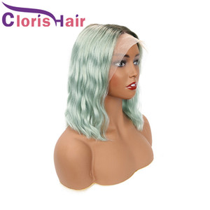 13x4 Frontal Wig Pixie Cut Colored Human Hair Body Wave Malaysian Remy Glueless Lace Front Wigs For Black Women Rose Blue Wavy Ombre Bob Wig