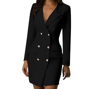 Donne Blazer Blazer Dress Doppio petto manica lunga con scollo a V bottone anteriore stile vestito elegante ufficio indossare vestidos # L35