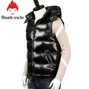 Черный жилет мужской шапке Съемные осень зима повседневные жилеты для мужчин мошенники теплого жилета с капюшоном без рукавов пальто # 817м 201128