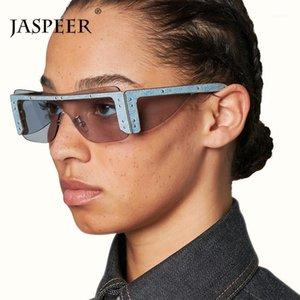 JASPER 2020 NUEVO RECTÁNGULO Gafas de sol sin montura Mujeres Diseñador de hombres One Piece Gafas de sol Rivet Punk Eyewear Glasses1