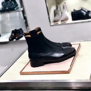 Diseñador Hombre Botas de tobillo Redbottom Botas de melón Negro Calfskin Caucho Lug Sole Mens Moda Zapatos Famosos Fiesta Boda