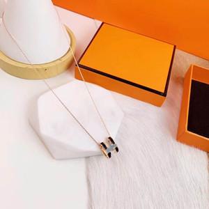 Gold Halskette Alphabet Halskette Hochwertiger Luxusanhänger, exquisites Weihnachtsgeschenk, Edelstahl Halskette H Muster Exquisite Geschenkbox