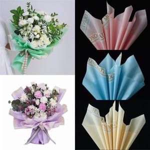 20pcs / lot Flower Bouquet Wrap Wrap Wrap Style Color Impermeable Alfabeto Rim Flor Papel de envoltura 58 * 58cm DHD3139