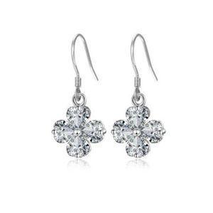 Karopel Korean Style Flower White Copper Stud Earrings Four-Leaf Clover Earrings Small Fresh Cubic Zirconia Heart Party