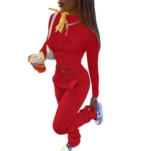 Otoño mujer Stacked chándales de los pantalones diseñador multi del color sólido del lazo del bolsillo casual de cuello alto 2 piezas Conjunto