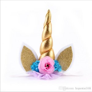 New Design Baby Unicorn Party Headbands Unicorn Gauze Flower Sequins Gold Hair Band Girls Animals Birthday Hair Accessories over