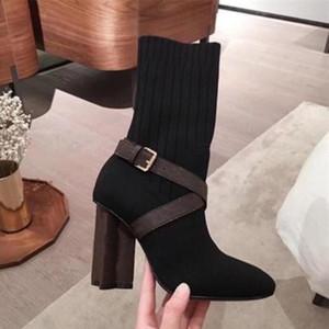 Mujeres Diseñador Botas Silueta Tobillo Bota Negro Estiramiento Alto Tacón alto Calcetín Botas y SOCK Sneaker Boot Boot Women Shoes con caja