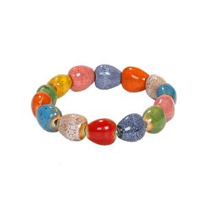 New lovely cute bohemian colorful ceramic stone beaded bracelet fashion charm bracelet for woman girls students elastic adjsutable