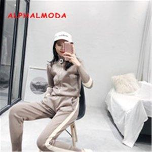 Giacca con cerniera Alphalmoda + Pantaloni sottili Donne Autunno Inverno Casual Track Casuals Knitting 2PCS Set1