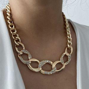 Rhinestone Diamant Kette Choker Halsketten für Frau Vintage Übertrieben Große Goldene Links Funkelnde Mädchen Aussage Halskette Hip Hop Schmuck