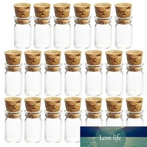 20Pcs 2ml 11 * 35mm trasparente mini bottiglia di vetro che desidera le fiale della bottiglia campione Decorazione per vetro Vasi con tappo di sughero di vetro libera Vasi