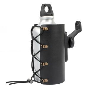 Motorcycle Black PU Drink Holder Water Beverage Bottle holder for 9mm mounting caliber