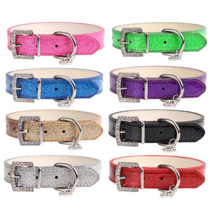 Rhinestone Heart Shiny PU Leather Pet Collar Diamond Button Noble Neck Strap Collar for Dogs Cats Pet Supplies
