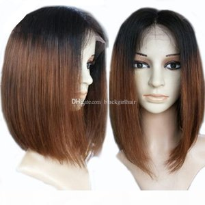 "Short Straight Full Lace Human Hair Wigs Ombre With Baby Hair 8""-18"" Brazilian Remy Hair Bob Wigs For Black Women"