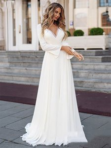 Wedding Dresses Long Sleeve Boho Bridal Gown White Lace Appliques Wedding Gowns Custom Made Plus Size V-neck