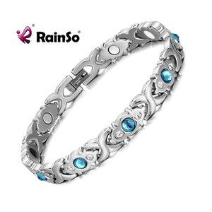 Rainso de acero inoxidable cadena encanto magnético germanio infrarrojo lejano pulsera para mujeres moda femme brazaletes joyería lj200918