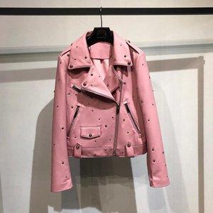 Woman Coats Natural 100% Sheepskin Genuine Leather Jackets Female Motorcycle Sheepskin Leather Rivet Masonry Decoration Overcoat