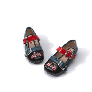 Двойная пряжка Девушки Обувь Мода дизайн Оксфорд Кожаные Обувь Мягкие плоские мокасины Мокасилки Детские малыш Девушка Обувь 23-32