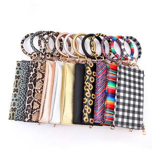 Women's Circle Keyring Wristlet Clutch Leopard PU Wallet Bracelets Key Ring Zipper Clutch Purses with Bangle Tassel Keychain Kimter-B282F