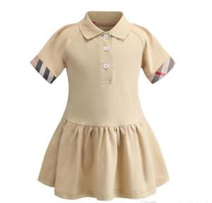 2021 Yeni Yaz Kızlar Polo Gömlek Kısa Kollu Elbise Sevimli Kız Prenses Elbiseler Çocuklar Pamuk Elbise 90-130 cm
