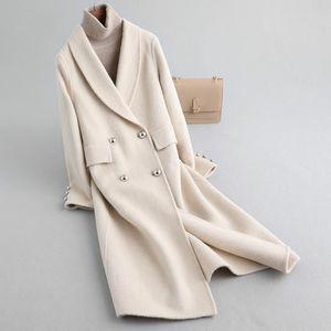 Autumn Elegant Ladies Spring Wool Coat Female Vintage Woolen Jacket Women Korean Alpaca Blend Coat Manteau Femme Hiver 2020 9507