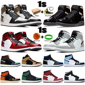 Kutu ile 1 1 S Erkek Basketbol Ayakkabıları Koyu Mocha Orta Işık Duman Gri Chicago Toe Siyah Metalik Altın UNC Patent Erkek Kadın Sneakers