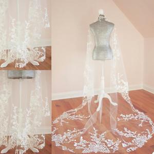 Luxurious Bridal Veils Lace Appliques Wedding Shawl Custom Made Bridal Tulle Veil Wedding Accessories Popular Wedding Shawl