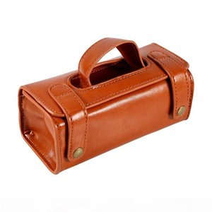 Brown PU Leather Men's Cosmetic Pouch Fashion Waterproof Shaving Brush Razor Travel Toiletry Bag