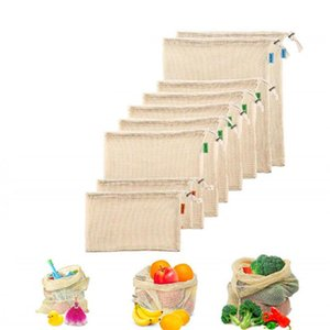 10pcs lot Cotton Mesh Produce Bags Reusable Washable Storage Drawstring Bag for Shopping Grocery Fruit Vegetable Storage bags
