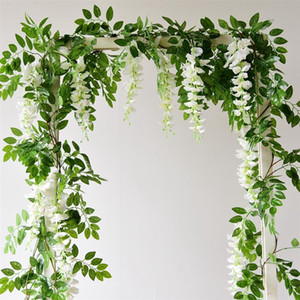 4PCS Artificial Flower Vine 1.7m Flower String Artificial Wisteria Vine Garland Plants FoliageHanging Wall Decor