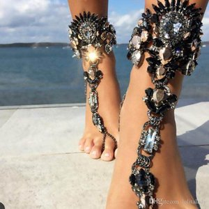 Cgjxs Fashion Ankle Bracelet For Beach Vacation Creative Sandals Sexy Leg Chain For Women Crystal Anklet Foot Jewelry