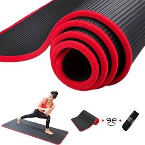 Jusenda 10mm Yoga Matte 183x61cm NBR Fitness-Gym Sport Pilates Pads Teppichkante-bedeckte reizfeste Yoga Matt mit Bagstrap 201102