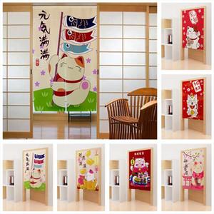 Cortina cortinas de estilo japonês porta afortunado gato ukiyo-e sombreamento bom fortunedecor entrada tapeçaria personalizada noren flanela